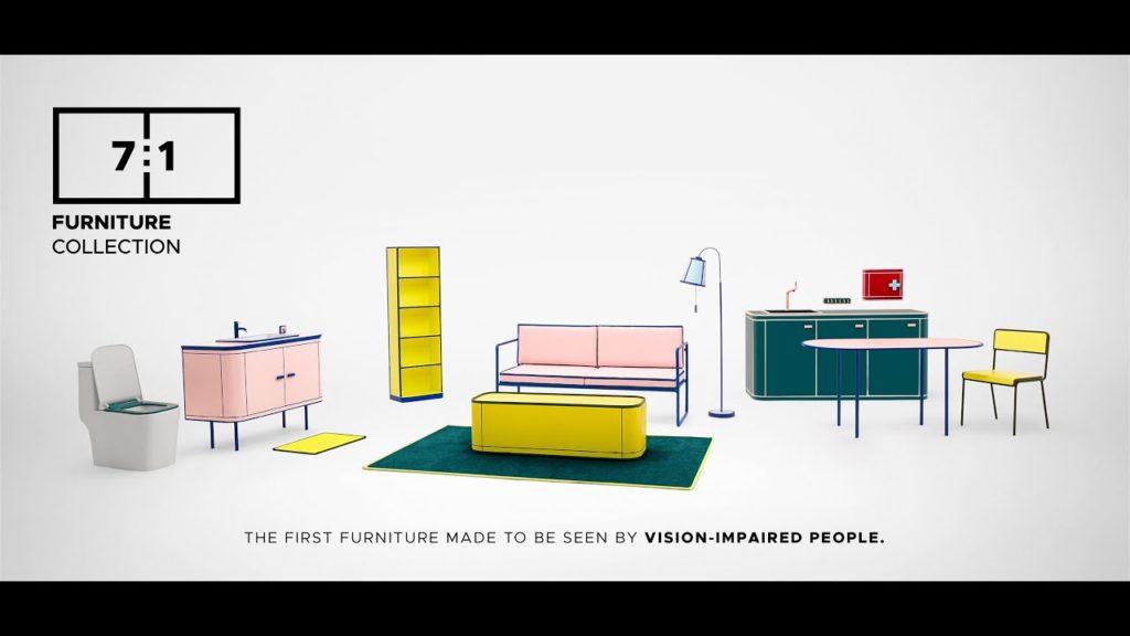 Imagem simula um ambiente com móveis coloridos para pessoas com deficiência visual